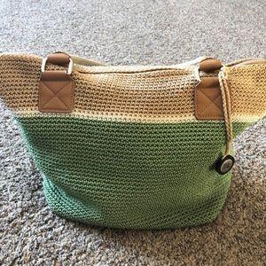Cute crochet green white tan purse